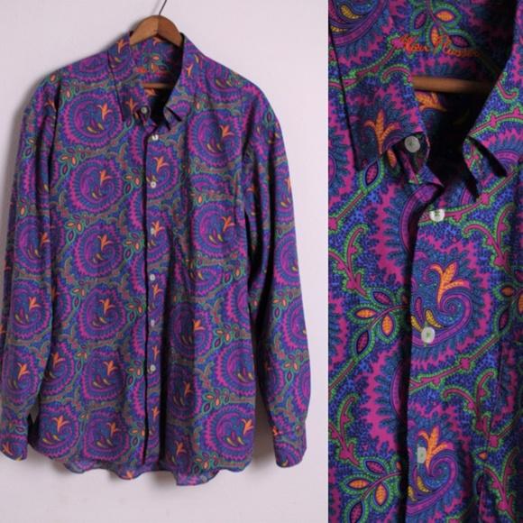 Alan Flusser Other - Alan Flusser Bright Paisley Button Down Shirt XL